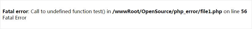 PHP5致命错误报错截图