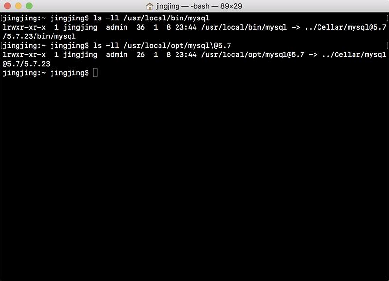 brew下MySQL的软连接情况